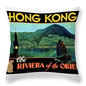Hong Kong The Riviera Of The Orient - Restored Throw Pillow
