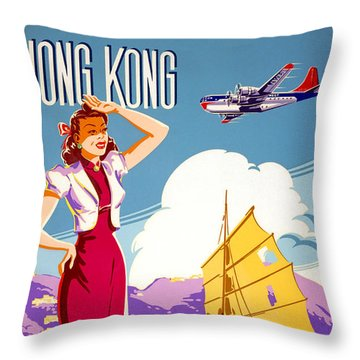 Hong Kong Vintage Travel Poster Restored Throw Pillow
