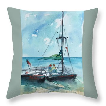 Honolulu Catamaran Throw Pillow by Carolyn Zbavitel