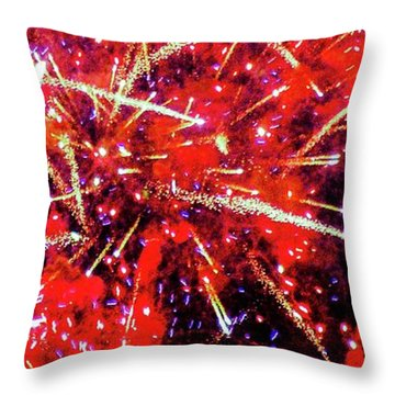 Honolulu Fireworks Throw Pillow