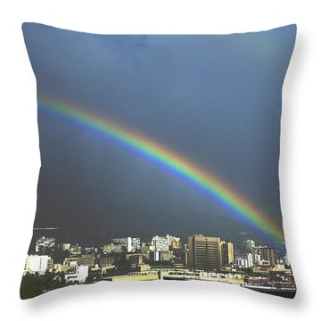 Honolulu Rainbow Throw Pillow