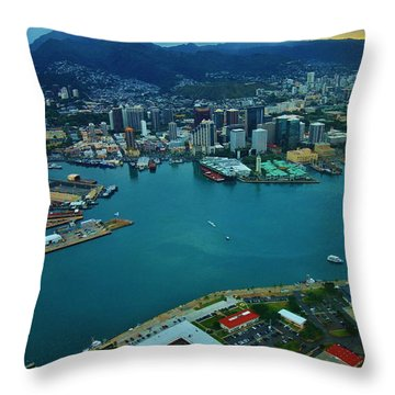 Honolulu Waterfront At Dawn Throw Pillow