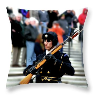 Honor Guard At Arlington Cemetery Throw Pillow by April Sims