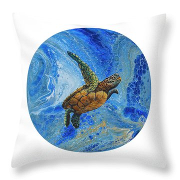 Throw Pillow featuring the painting Honu Amakua by Darice Machel McGuire
