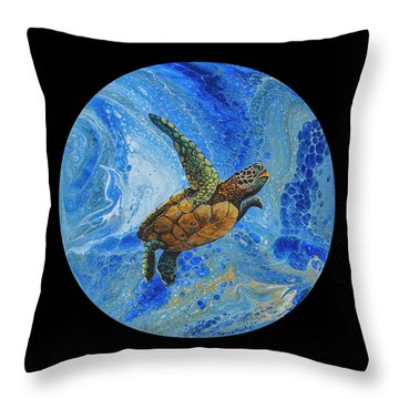 Throw Pillow featuring the painting Honu Amakua On Black by Darice Machel McGuire