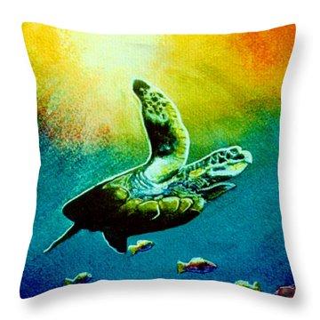 Honu Hawaiian Sea Turtle #154  Throw Pillow by Donald k Hall