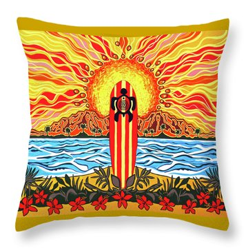 Throw Pillow featuring the painting Honu Surf by Debbie Chamberlin