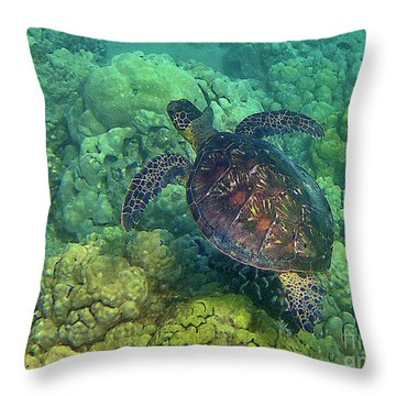 Honu Swimming Over Coral Throw Pillow