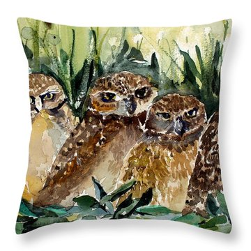 Hoo Is Looking At Me? Throw Pillow by Mindy Newman