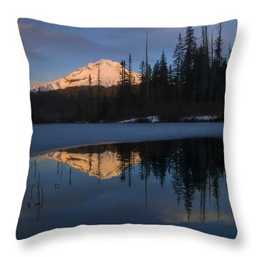 Hood Alpenglow Throw Pillow by Mike  Dawson