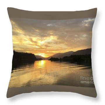 Hood River Golden Sunset Throw Pillow