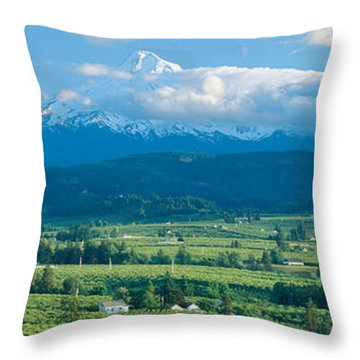 Hood River Valley And Mount Hood, Oregon Throw Pillow