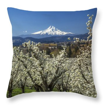 Hood River Valley In Bloom Throw Pillow