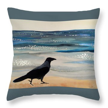 Hooded Crow At The Black Sea By Dora Hathazi Mendes Throw Pillow