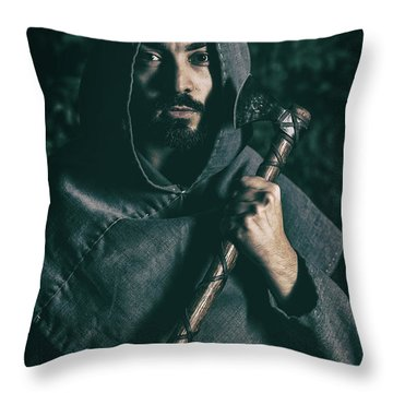 Hooded Man With Axe Throw Pillow