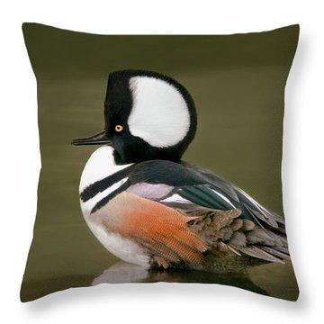 Hooded Merganser Throw Pillow