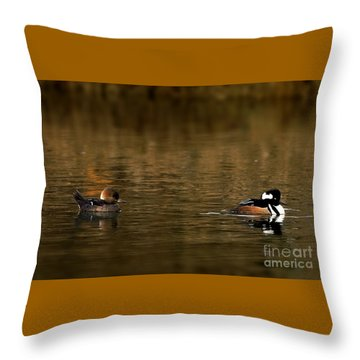Hooded Mergansers Throw Pillow