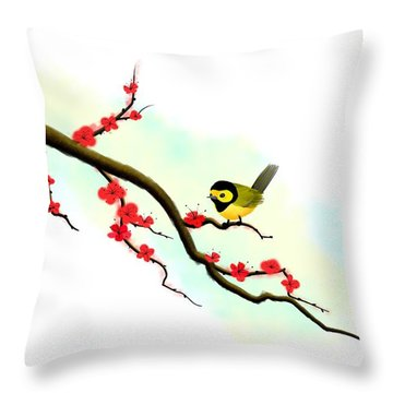 Hooded Warbler Prosperity Asian Art Throw Pillow