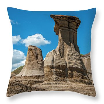 Hoodoos Of Drumheller Throw Pillow