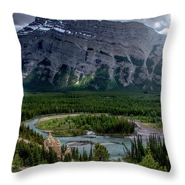 Hoodoos On The Bow River Throw Pillow