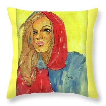 Throw Pillow featuring the painting Hoody by P J Lewis