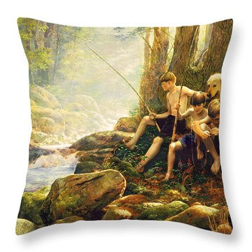 Throw Pillow featuring the painting Hook Line And Summer by Greg Olsen