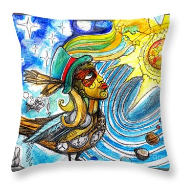 Throw Pillow featuring the painting Hooked By The Worm by Genevieve Esson