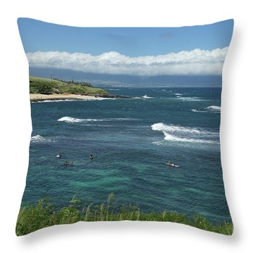 Ho'okipa Beach View From Ho'okipa Beach Park Hana Maui Throw Pillow