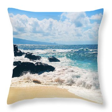 Throw Pillow featuring the photograph Hookipa Beach Maui Hawaii by Sharon Mau