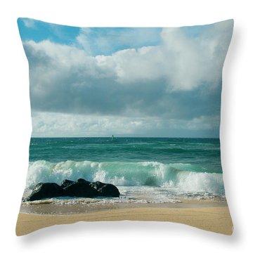 Throw Pillow featuring the photograph Hookipa Beach Pacific Ocean Waves Maui Hawaii by Sharon Mau