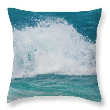 Throw Pillow featuring the photograph Hookipa Splash Waves Beach Break Shore Break Pacific Ocean Maui  by Sharon Mau