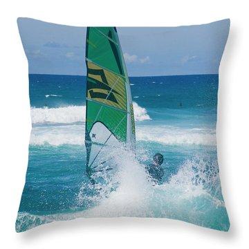 Hookipa Windsurfing North Shore Maui Hawaii Throw Pillow by Sharon Mau