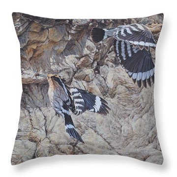Hoopoes Feeding Throw Pillow
