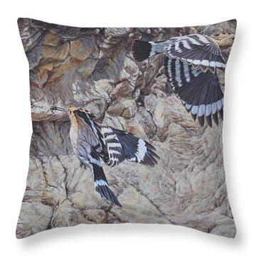 Hoopoes Feeding Throw Pillow