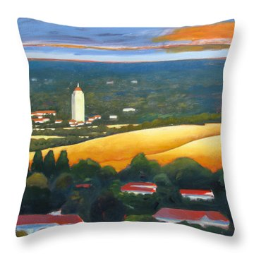 Hoover Tower From Hills Throw Pillow