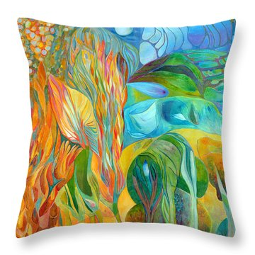 Throw Pillow featuring the painting Hope Flies by Linda Cull