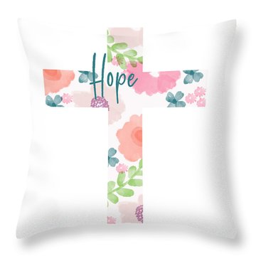 Hope Floral Cross- Art By Linda Woods Throw Pillow