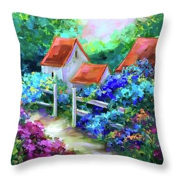 Hope Springs Hydrangea Garden Throw Pillow by Nancy Medina