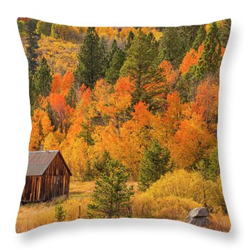 Hope Valley Fall Cabin By Brad Scott Throw Pillow