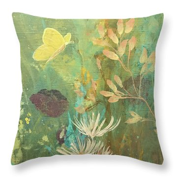 Throw Pillow featuring the painting Hopeful Golden Wings by Robin Maria Pedrero