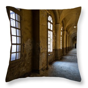 Hopelessly In Hope - Abandoned Mental Institution Throw Pillow by Dirk Ercken