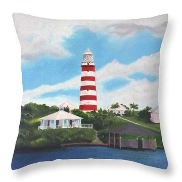 Hopetown Lighthouse Number Two Throw Pillow