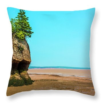 Hopewell Rocks In New Brunswick -  Canada Throw Pillow by Ken Morris