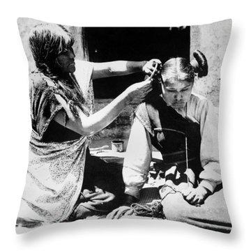 Hopi Hair Dresser, C1909 Throw Pillow