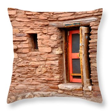Hopi House Door Throw Pillow by Julie Niemela