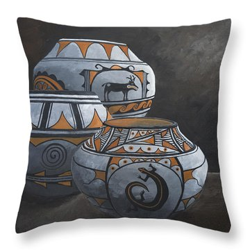 Hopi Pots Throw Pillow by Jerry McElroy