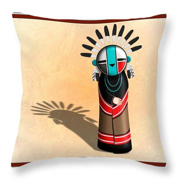 Hopi Sun Face Kachina Throw Pillow