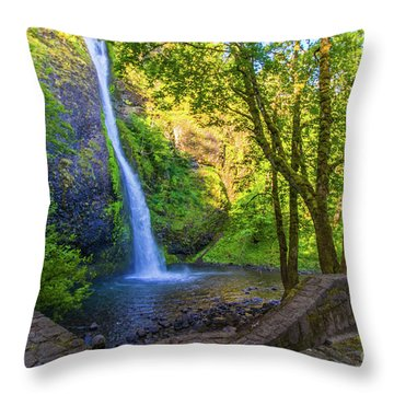 Throw Pillow featuring the photograph Horesetail Falls by Jonny D