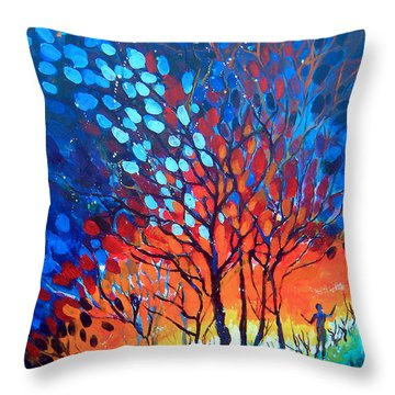 Throw Pillow featuring the painting Horizons by Linda Shackelford