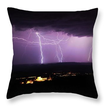 Horizontal And Vertical Lightning Throw Pillow